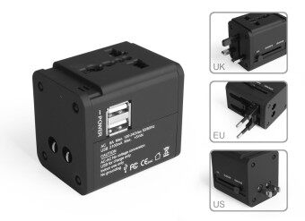Harga 1.0A Dual USB Port All In One Universal International Travel Adapter