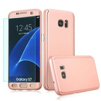 Harga 360 Full Body Coverage Protection Hard Slim Ultra-thin Hybrid Case Cover with Tempered Glass Screen Protector for Samsung Galaxy S7 (Rose Gold)