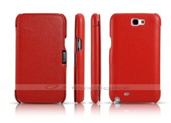 Harga icarer Luxury Genuine Leather Case for Samsung Galaxy Note 2 N7100 Side Flip Cover with Card Holder Slot (Red)