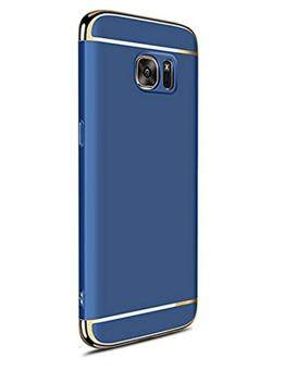 Harga 3 In 1 Ultra Thin and Slim Hard Case Coated Non Slip Matte Surface with Electroplate Frame for Samsung Galaxy S6 Edge (Blue)