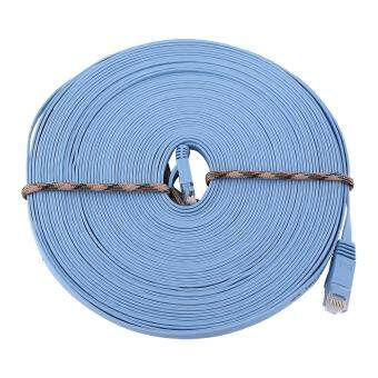Harga RJ45 CAT6 Ethernet Network Flat LAN Cable UTP Patch Router Cables 1000M (Blue 15meters)