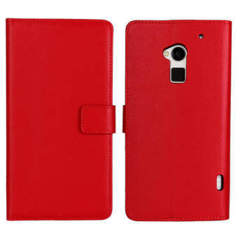 Harga Moonmini Genuine Leather Flip Stand Cover for HTC One Max T6 (Red)
