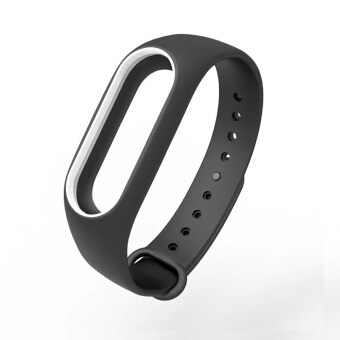 Harga New Colorful Silicone Strap Belt For Xiaomi Mi Band 2 Replacement Wrist Straps Wristband Bracelet for Mi Band 2 Accessories – Black with White
