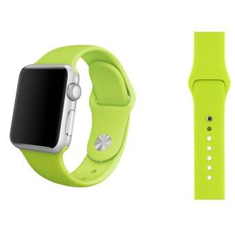 Harga Soft Silicone Watch Band Strap With Connector Adapter For Apple Watch iWatch 38mm (Green) - Int'L