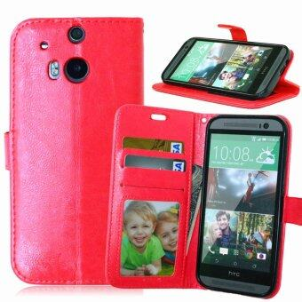Harga Leather Wallet Flip Cover Case For HTC One (M8)(Red)