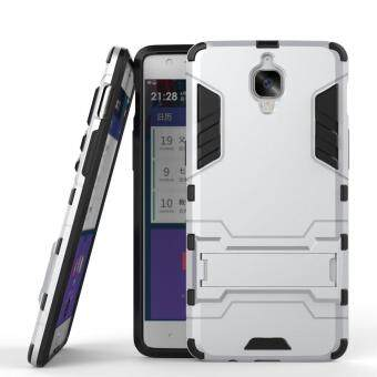Harga Heavy Duty Dual Layer Drop Protection Shockproof Armor Hybrid Steel Style Protective Cover Case with Self Stand for OnePlus 3T / OnePlus 3