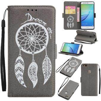Harga Premium Embossed Wind Chimes PU Leather Wallet Folio Flip Cases with Detachable Wrist Strap Card Slots Kickstand Function Cover Case for Huawei P10 Lite