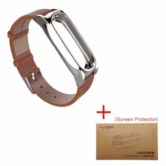 Harga Newest Version Plus Original Mijobs Leather Strap For Xiaomi Mi Band 2 Metal Leather Screwless Wristbands Replace Bracelet For MiBand 2 – Brown with Film