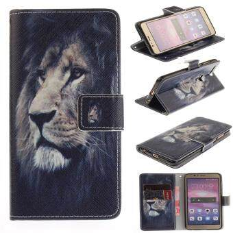 Harga Colorful Painting PU Leather Flip Stand Protective Case Cover with Card Slots / Cash Pocket Case Cover for Huawei Honor 8
