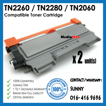 Harga * 2 Units Combo Pack * Compatible Laser Toner Cartridge Brother TN2060 / TN 2060 / TN2260 / TN 2260 / TN2280 / TN 2280 / HL-2130 / DCP-7055 / HL-2240D / HL-2250DN / HL-2270DW / DCP-7060D / MFC-7360 / MFC-7860DW / FAX-2840