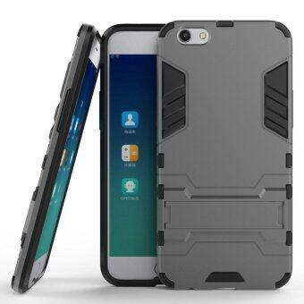 Harga Heavy Duty Dual Layer Drop Protection Shockproof Armor Hybrid Steel Style Protective Cover Case with Self Stand for OPPO R9s