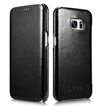 Harga ICARER Ultra Slim Vintage Genuine Leather Case Flip Folio Protective Cover for Samsung Galaxy S7 Edge (Black)