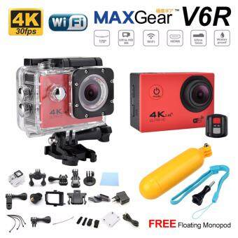 Harga MAXGear V6R 4K 30fps Remote 16M Sport Action Camera Waterproof WiFi Upgraded V4 V5 Sony FREE Monopod-Red