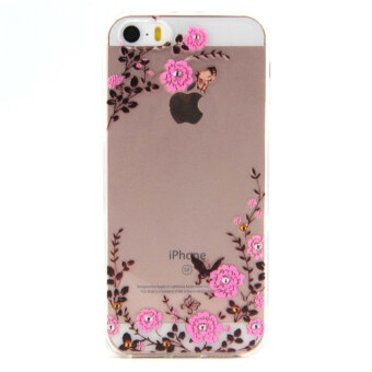 Harga Embossed TPU Gel Phone Shell for iPhone SE 5s 5 - Blooming Roses