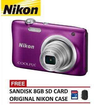 Harga Nikon CoolPix A100 Digital Camera - Purple (Nikon Malaysia Warranty)