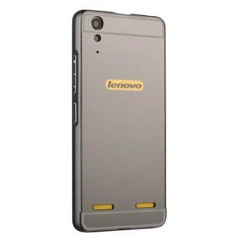 Harga Moonmini Hard PC Mirror Metal Frame Bumper Case for Lenovo K3 A6000 (Black)
