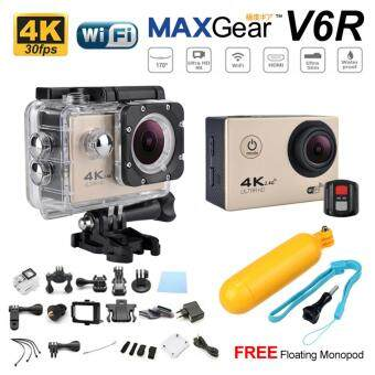 Harga MAXGear V6R 4K 30fps Remote 16M Sport Action Camera Waterproof WiFi Upgraded V4 V5 Sony FREE Monopod-Gold