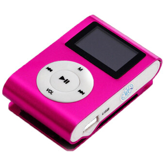 Harga LoveSport USB Mini Clip MP3 Player LCD Screen Support 32GB Micro SD TF Card FM Radio (Pink)