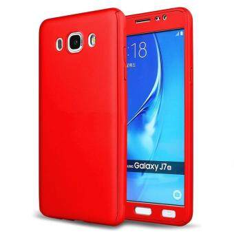 Harga 360 Degree Full Body Hard PC Protective Back Case With Tempered Glass For Samsung Galaxy J710/J7 2016 (Red)