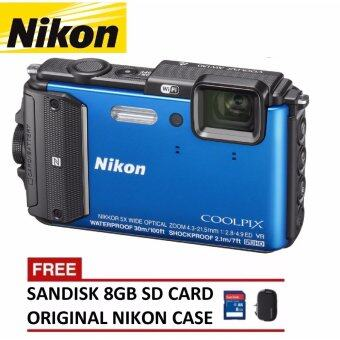 Harga Nikon Coolpix AW130 Digital Camera (Blue) + 8GB SanDisk SDHC Card + Nikon Casing (ORIGINAL NIKON MALAYSIA)