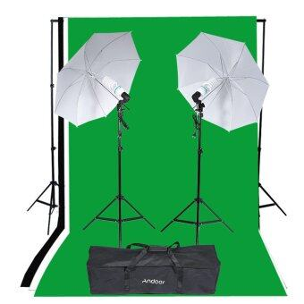 Harga Andoer Photography Studio Portrait Product Light Lighting Tent Kit Photo Video Equipment (2 * 135W Bulb+2 * Bulb Holder+2 * Reflective Shooting-through Umbrella+3 * Backdrops+1* Backdrop stand+2 * Tripod Stands+1* Carrying Bag)