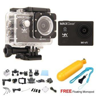 Harga MAXGear V6 4K 30fps Wifi 16M Sport Action Camera Waterproof Upgraded V4 V5 + FREE Floating Monopod - Black