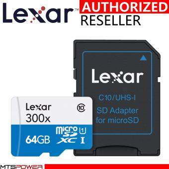 Harga Lexar 64GB 45MB/s High-Performance MicroSDXC 300x Class 10 UHS-I/U1 with Adapter Flash Memory Card (LSDMI64GBBAS300A) [Newest Version]