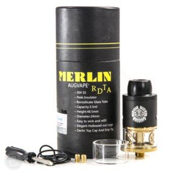 Harga GENUINE Augvape Merlin Self Sealing Two Post RDTA Dripper Tank (Black Gold) Atomizer Vape E-Cigarette