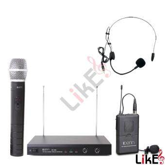 Harga DENN DM-1388HC Dual Channel VHF Wireless Microphone (1 Handheld, 1 Clip + 1 Headset)
