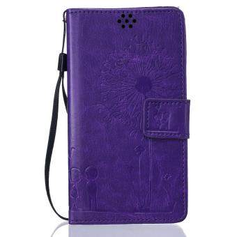 Harga Premium Magnetic Closure PU Leather Emboss Dandelion Wallet case Pattern with Card Slots Wrist Strap Flip Stand Cover for Sony Xperia M2