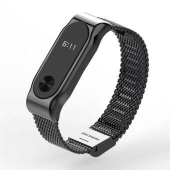 Harga Original Mijobs Metal Strap Band For MiBand 2 Wristbands Stainless Steel Bracelet For Xiaomi Mi Band 2 Replace For Mi Band 2 – Black