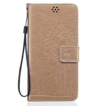 Harga Premium Magnetic Closure PU Leather Emboss Dandelion Wallet case Pattern with Card Slots Wrist Strap Flip Stand Cover for iPhone 6 Plus / 6S Plus