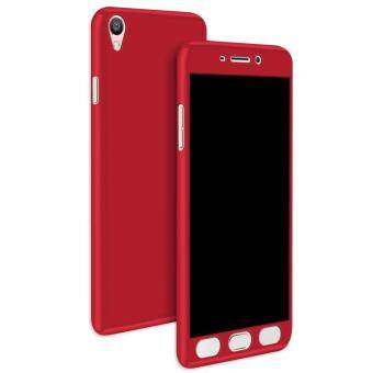 Harga 360 Full Body Coverage Protection Hard Slim Ultra-thin Hybrid Case Cover & Skin with Tempered Glass Screen Protector for OPPO R9s Plus (Red)