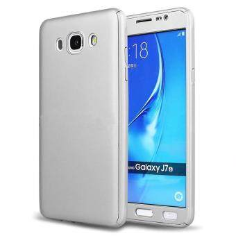 Harga 360 Degree Full Body Hard PC Protective Back Case With Tempered Glass For Samsung Galaxy J7 2015 (Silver)