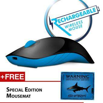 Harga Alcatroz Air Shark 2.4G Wireless Mouse Free Mousemat (Black/Blue)