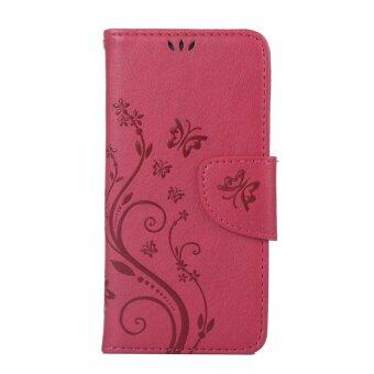 Harga Moonmini Flower Leather Cover Flip Case for Lenovo S850 (Red)