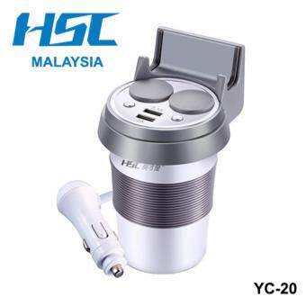 Harga Car Charger Cup HSC YC-20 with Phone Holder