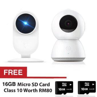 Harga [Import] Bundle Mijia 1080P Cctv White Xiaomi Smart IP Camera 1080P2.4G Wifi Mi Night Vision Cam HD + FREE Little White Xiaobai SmartCctv + Sandisk Ultra Mirco Sdhc 48Mb/S 16Gb