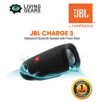 JBL Charge 3 Rechargeable Waterproof Portable Wireless BluetoothSpeaker + Power Bank With High-Capacity 6,000mAh Battery (Black)