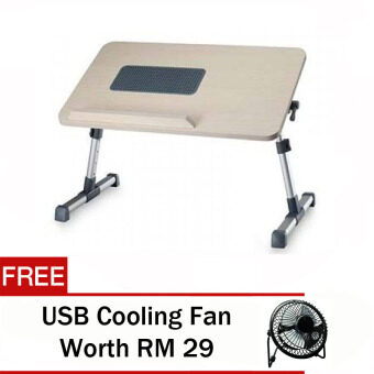 Harga JD Notebook Table / Laptop Table With Foldable Adjustable Wooden& Cooling Fan ( Random Colour )