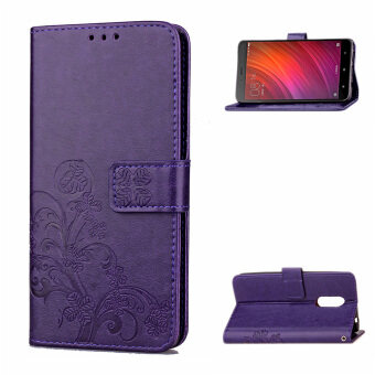 Harga JOMA E shop Four-leaf clover PU Embossing Leather Wallet Flip Casewith Stand for Xiaomi Redmi Note 4(Purple)