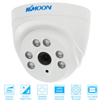 Harga KKmoon 960P AHD Dome CCTV Camera 1.3MP 3.6mm 1/4'' CMOS 6 Array IRLamps Night Vision IR-CUT Indoor Home Surveillance PAL System