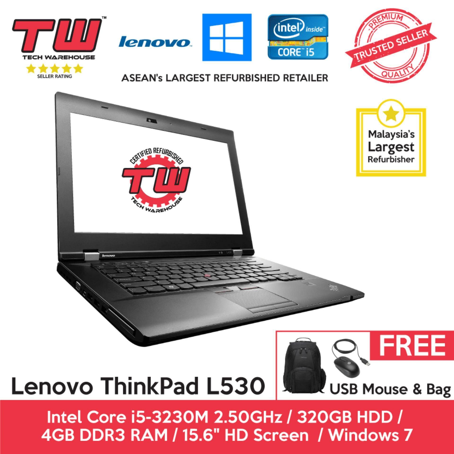 Lenovo ThinkPad L530 Core i5 3rd Generation / 4GB RAM / 320GB HDD / Windows 7 Laptop / 3 Months Warranty (Factory Refurbished) Malaysia