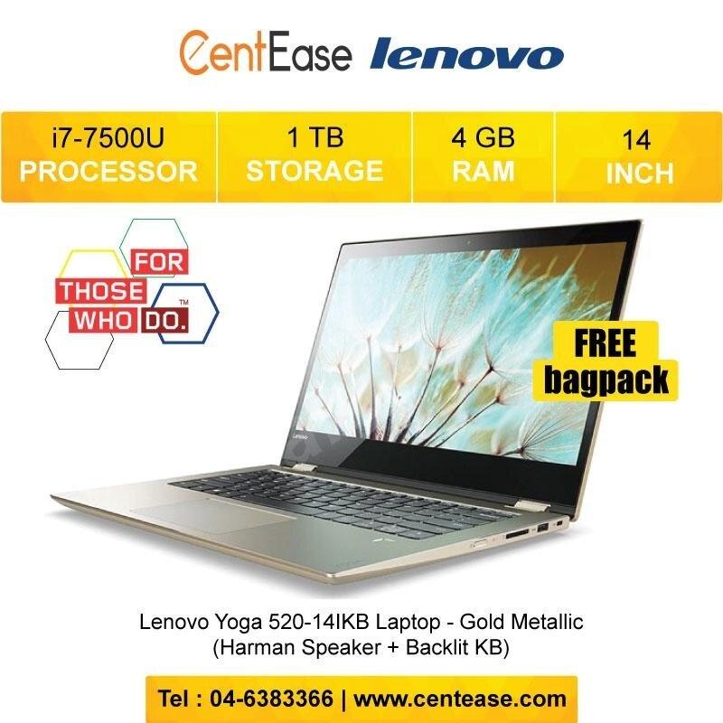 Lenovo Yoga 520-14IKB Laptop - i7-7500U W10 14 FHD Touch 4GB 1TB (Harman Speaker + Backlit KB) Malaysia