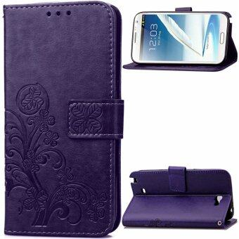 Harga Lucky Clover PU Leather Flip Magnet Wallet Stand Card Slots CaseCover for Samsung Galaxy Note II 2 N7100 Purple