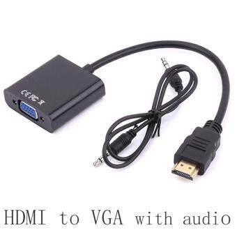 Harga Male to Female HDMI to VGA Converter Adapter with 3.5mm Audio Cablefor PC Computer Laptop Desktop to HDTV Monitor Displayer