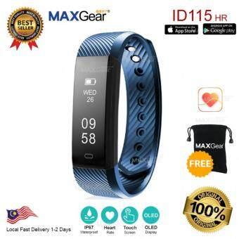 MAXGear ID115HR Heart Rate Smartband Monitor OLED Fitness Wristband MI FREE Pouch - Dark Blue
