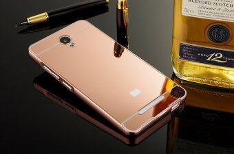 ... Metal Bumper Frame and Mirror PC Back Case for Xiaomi Redmi Note 2 Rose Gold