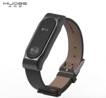 Mijobs Replacement Leather Wrist Band Strap for Xiaomi Mi Band 2Smart Bracelet