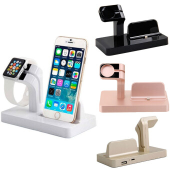 Moonar Fashion Dual Functions Docking Charger Station Stand CradleHolder for iPhone iWatch Apple Watch (Black) - 5